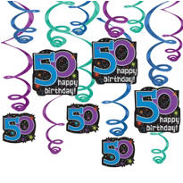 50th Birthday The Party Continues Swirl Decorations