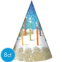 Sparkle Wishes Happy Birthday Prismatic Party Hats 8ct