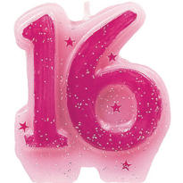 Sweet 16 Sparkle Birthday Candle 3in