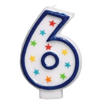 Number 6 Birthday Candle 3in