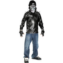 Teen Boys Metal Skull Biker Costume