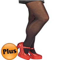 Adult Black Seamless Tights Plus Size