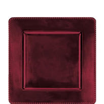 Burgundy Metallic Square Plastic Charger 12in