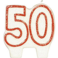 Number 50 Red Glitter Birthday Candle 3in