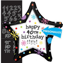 Birthday Star Personalized Foil Balloon 18in