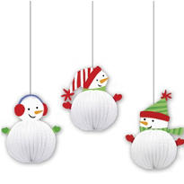 3D Snowman Hanging Decorations 8in 3ct