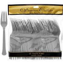 Silver Premium Plastic Forks 48ct