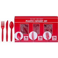 Red Cutlery Set 210pc