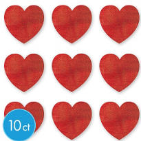 Mini Glitter Heart Cutouts 3 3/4in 10ct