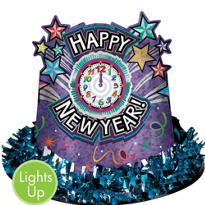 Light Up New Years Top Hat 5in