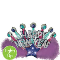 Light Up New Years Tiara 5 1/2in
