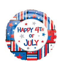 Foil Happy 4th of July Striped Patriotic Balloon 18in