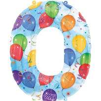 Number 0 Celebration Foil Balloon 34in
