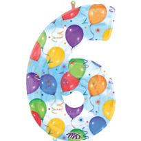 Number 6 Celebration Foil Balloon 34in
