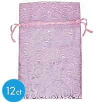 Pink Swirls Organza Bags 12ct