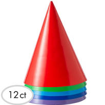 Primary Colored Party Hats 12ct