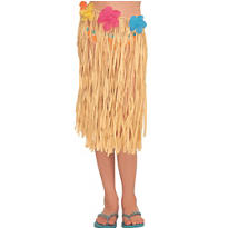 Child Raffia Hula Skirt with Flowers