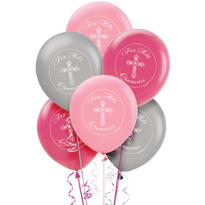 Print Pink Communion Latex Balloons 12in 15ct