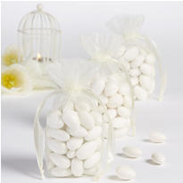 Ivory Organza Box Bottom Wedding Favor Bags 12ct