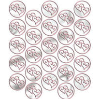 Pink Heart Metallic Envelope Seals 25ct