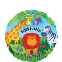 Foil Jungle Animals Birthday Balloon 18in