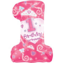 1st Birthday Princess Foil Balloon 28in