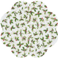 Holly Round Doilies 12in 6ct
