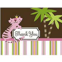 Queen of the Jungle Baby Shower Thank You Notes 8ct