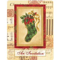 Elegant Stocking Christmas Invitations 20ct