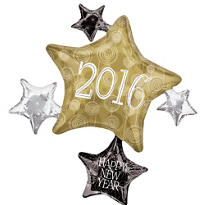 Foil 2015 Star Cluster New Years Balloon 35in