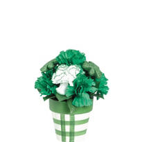Carnation and Glitter Shamrock Floral Centerpiece 9in