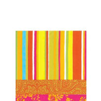 Hot Stripe Orange Beverage Napkins 20ct
