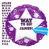 Foil Purple Personalized Graduation Balloon