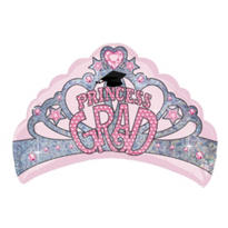Foil Grad Princess Crown Graduation Balloon 27in