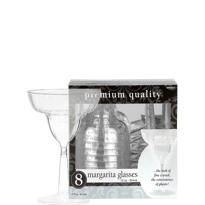 CLEAR Premium Plastic Margarita Glasses 8ct