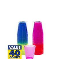 Assorted Color Plastic Shot Glasses 2oz 40ct