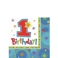 One-Derful Boy 1st Birthday Beverage Napkins 16ct