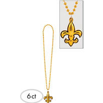Fleur De Lys Mardi Gras Bead Necklaces 34in 6ct