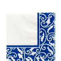 Royal Blue Ornamental Scroll Lunch Napkins 16ct