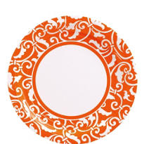 Orange Ornamental Scroll Lunch Plates 8ct
