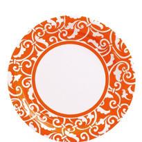 Orange Ornamental Scroll Lunch Plates 8ct