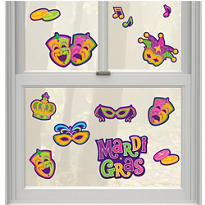 Mardi Gras Vinyl Window Decorations 13ct