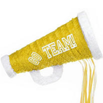 Pull String Yellow Megaphone Pinata 18in