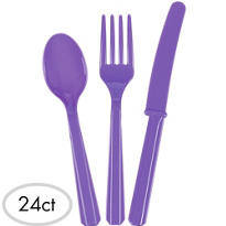 Purple Cutlery Set 24ct