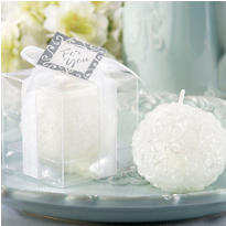 White Rose Ball Candle Wedding Favor