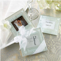 Good Wishes Pearlized Photo Coasters Wedding Favor 2ct