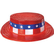 Patriotic Red, White & Blue Skimmer Hat