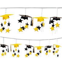 Yellow 3D Grad Cap Graduation Garland 12ft