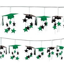 Green 3D Grad Cap Graduation Garland 12ft