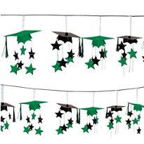 Green 3D Grad Cap Graduation Garland 12ft